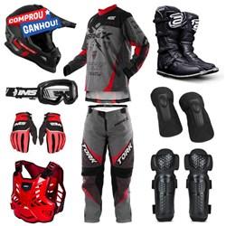 "Kit Equipamento Completo ASW IMS Protork Motocross Trilha - BRINDE COLETE E JOELHEIRA"""