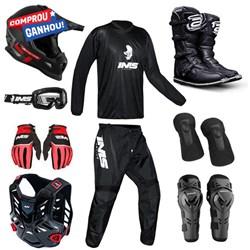 "Kit Equipamento Completo ASW-IMS Motocross Trilha - BRINDE COLETE E JOELHEIRA"""