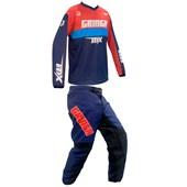 Calça E Camisa Gringa Race Azul Vermelho