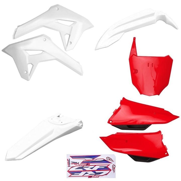 Kit Plastico Completo Crf 250f 21 Amx Branco Vermelho Branco