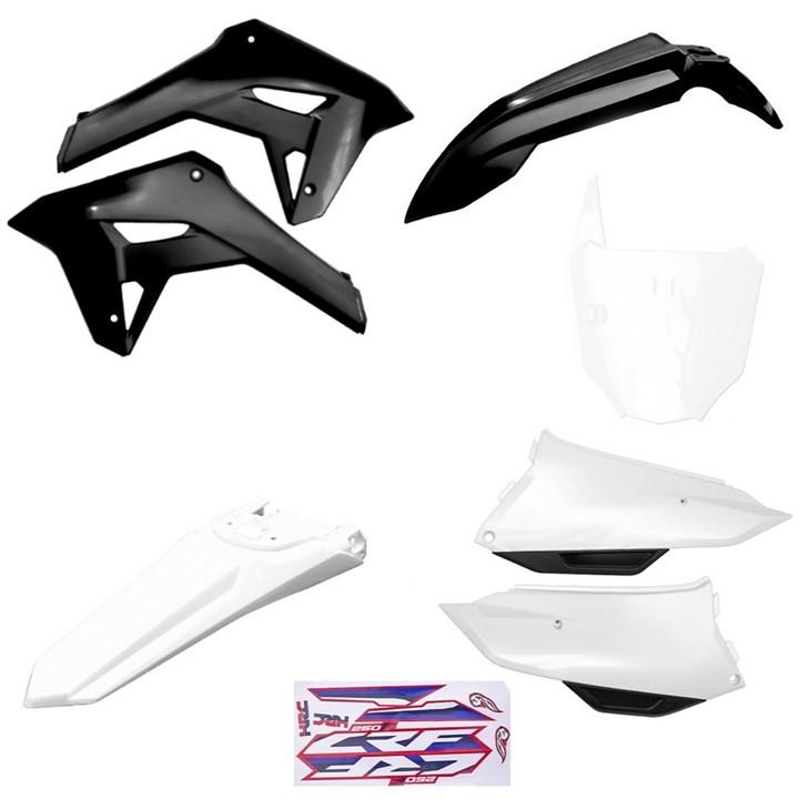 Kit Plastico Completo Crf 250f 21 Amx Preto Branco Branco