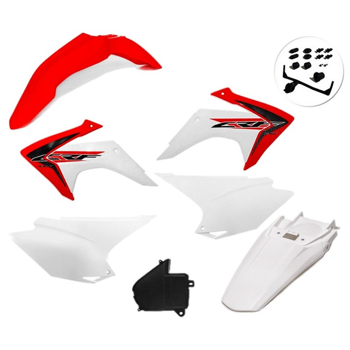 Kit Plastico Crf 230 Com Adesivo Amx Vermelho Branco