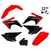 Kit Plastico Crf 230 Com Adesivo Amx Vermelho Preto