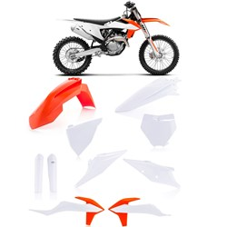 Kit Plastico Ktm 125 / 250 / 350 / 450 Sx/Sxf  19/20 Acerbis Laranja Branco